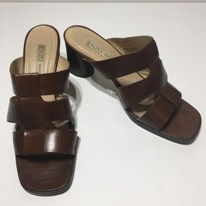 Enzo Angiolini Brown Leather Sandals with Heels 10